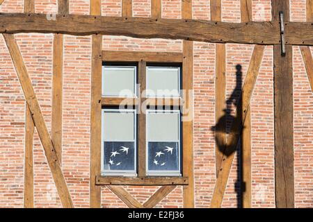 France, Seine et Marne, Coulommiers, facade of a half timbered house on market square now hosting a bank