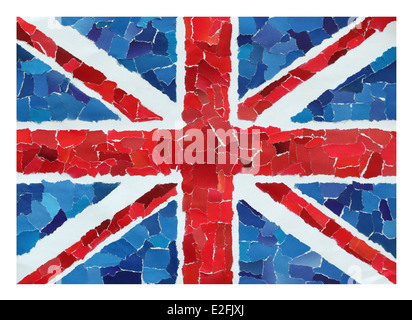 UK national flag made from many pieces of torn paper - Stock Photo
