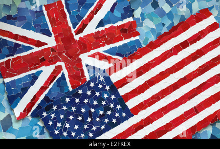 US and UK national flags made from many pieces of torn paper on sky blue background - Stock Photo