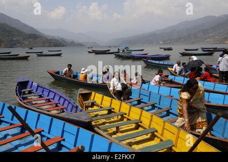 Nepal Gandaki Zone Pokhara Phewa Tal Lake - Stock Photo