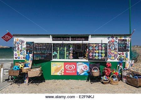 United Kingdom Channel Islands Guernsey island Vale Kiosk beach Pembroke bay - Stock Photo