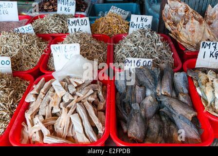 Malaysia Malaysian Borneo Sarawak State Kuching Dried fish Food Market - Stock Photo
