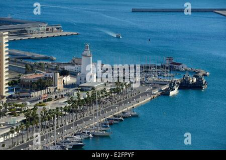 Spain Andalusia Costa del Sol Malaga the harbour and its lighthouse - Stock Photo