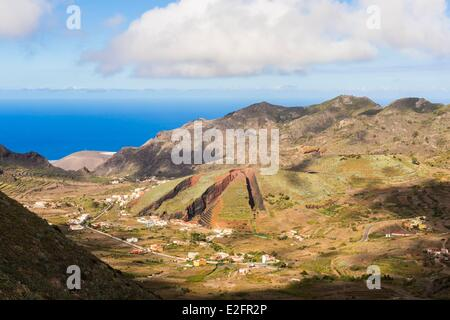 Spain Canary Islands Tenerife Island Teno Rural Park El Palmar seen from the Mirador de Baracan - Stock Photo