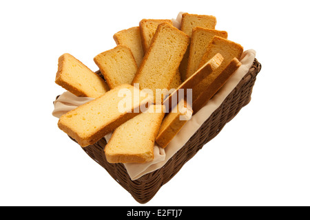 Rusks in a basket - Stock Photo