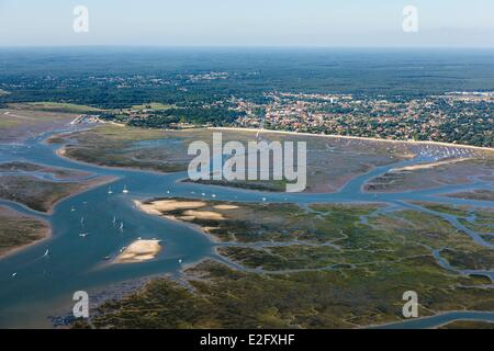 France Gironde Ares seaside resort on Arcachon Bay (aerial view) - Stock Photo