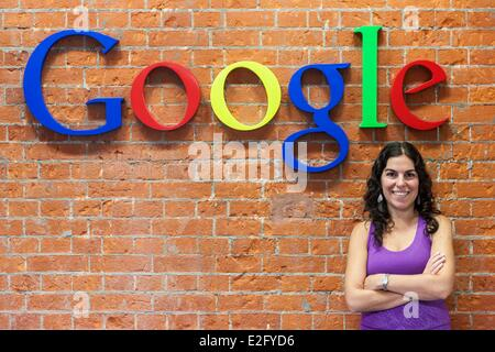 Argentina Buenos Aires Puerto Madero district headquarters of Google Argentina an employee at the logo - Stock Photo