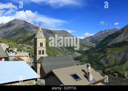 France Hautes Alpes Ecrins National Park La Grave hamlet Ventelon Col du Lautaret (2058m) in the background - Stock Photo