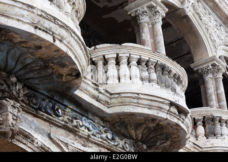 balcony of the old building close up - Stock Photo