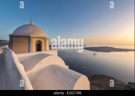 Greece Cyclades Islands Santorini Island (Thira) church in Fira - Stock Photo