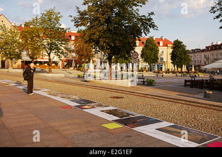 Poland Podlaskie Bialystok Kosciuszko Square photographic exhibition on sidewalks - Stock Photo
