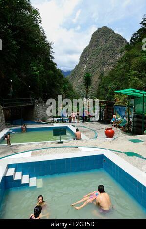 Peru Cuzco province Aguas Calientes hot springs - Stock Photo