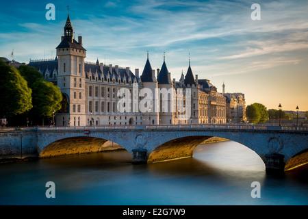 The Conciergerie, Pont au Change and River Seine, Paris France - Stock Photo