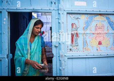 India Rajasthan State Jodhpur the old city - Stock Photo