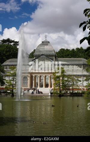 Spain Madrid Palacio de Cristal or Crystal Palace in the Buen Retiro Park (Parque del Buen Retiro) - Stock Photo