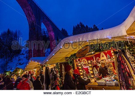 Germany Baden Wurrtemberg Black Forest near Kirchzarten Hollental Valley Christmas Market at the throat of the Ravenna - Stock Photo