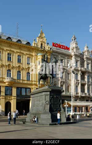 Croatia Zagreb Jelacic (Jelacica) square equestrian statue of Count Joseph Ielatchitch of Buzim (also called Jelacic) - Stock Photo