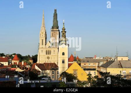 Croatia Zagreb cathedral of Assuption of Blessed Virgin Mary - Stock Photo