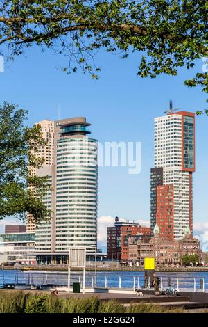 Netherlands South Holland Rotterdam overlooking Nieuwe Maas river and Southbank area with Hotel New York opened - Stock Photo