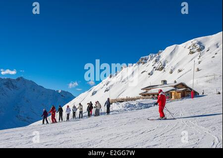 France Savoie Vanoise massif valley of Haute Tarentaise Les Arcs part of Paradiski area with over 425 km of ski - Stock Photo
