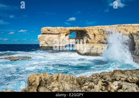 Malta Gozo island natural arch of Azure Window - Stock Photo