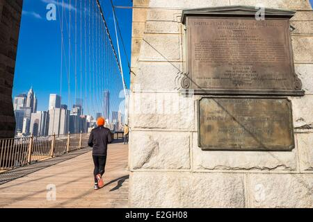 United States New York Brooklyn bridge - Stock Photo