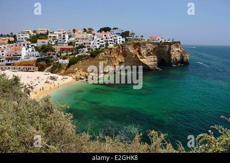 Portugal Algarve Carvoeiro village and beach - Stock Photo