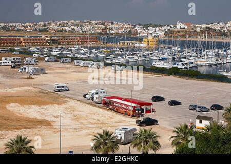 Portugal Algarve Portimao Praia da Rocha marina and beach parking - Stock Photo