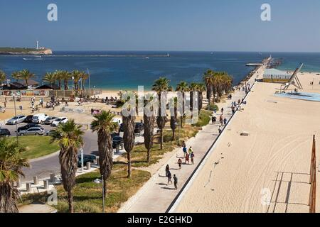 Portugal Algarve Portimao Pier Beach (Praia da Rocha) - Stock Photo