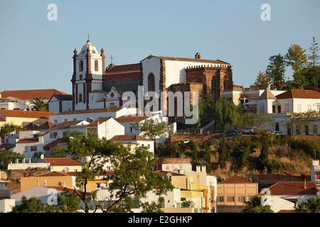 Portugal Algarve Silves panorama showing cathedral (Se de Silves) - Stock Photo