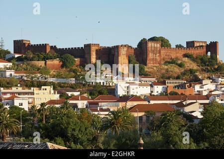 Portugal Algarve Silves panorama showing Moorish Castle (Castelo de Silves) - Stock Photo