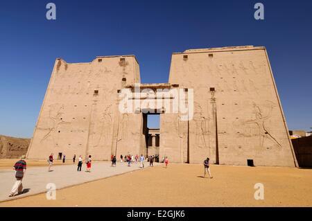 Egypt Upper Egypt Edfu Edfu Temple or Temple of Horus pylon 36m high - Stock Photo