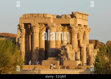 Egypt Upper Egypt Kom Ombo temple dedicated to two gods: falcon god Haroeris or Horus old and crocodile god Sobek - Stock Photo