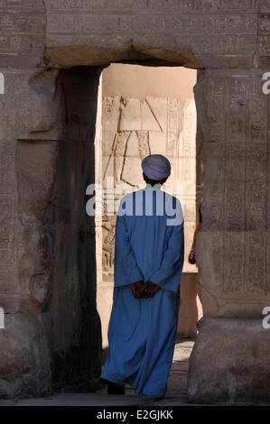 Egypt Upper Egypt Kom Ombo temple dedicated to two gods: falcon god Haroeris or Horus old and crocodile god Sobek - Stock Photo