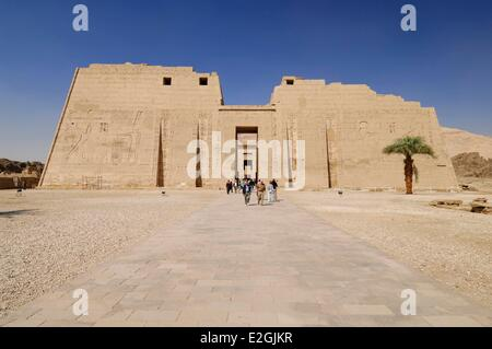 Egypt Upper Egypt Luxor ancient city of Thebes west shore Theban Necropolis listed as World Heritage by UNESCO Medinet - Stock Photo