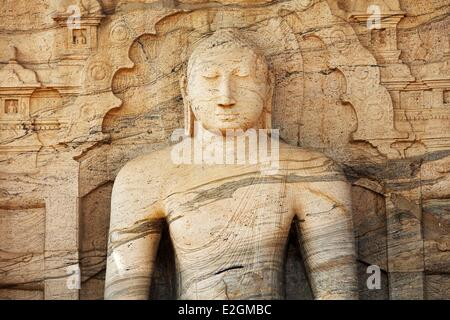 Sri Lanka North Central Province Ancient City of Polonnaruwa classified as World Heritage by UNESCO seated Buddha - Stock Photo