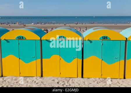 France Nord Cote d'Opale Dunkirk Malo les Bains beach huts on beach - Stock Photo