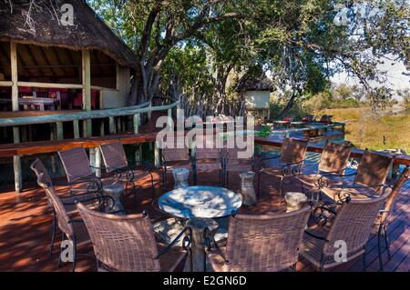 Botswana North West District Okavango Delta Linyanti Reserve Savuti Lodge deck and reception lounge - Stock Photo