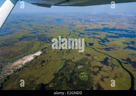 Botswana North West District Okavango Delta Linyanti Reserve flight between Abu Lodge and Savuti Camp - Stock Photo