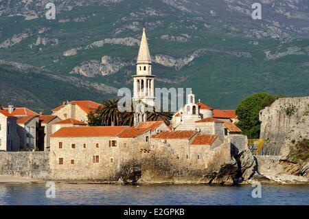 Montenegro Adriatic coast old town of Budva - Stock Photo