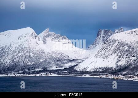 Norway Troms Senja island fishing village of Skaland in winter - Stock Photo