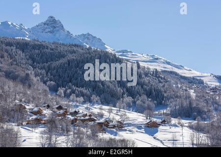 France Savoie Tarentaise valley Meribel-Les Allues hamlet of La Giettaz with a view of Dent De Burgin or Croix de - Stock Photo