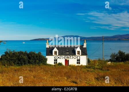 United Kingdom Scotland Highland Inner Hebrides Isle of Skye,Broadford typical traditional house located at edge - Stock Photo
