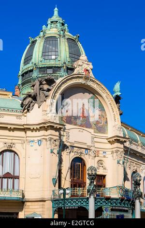 Czech Republic Prague historical centre listed as World Heritage by UNESCO Municipal House (Obecni Dum) was constructed - Stock Photo