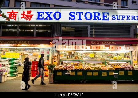 France Paris Chinatown Chinese store in Avenue de Choisy - Stock Photo