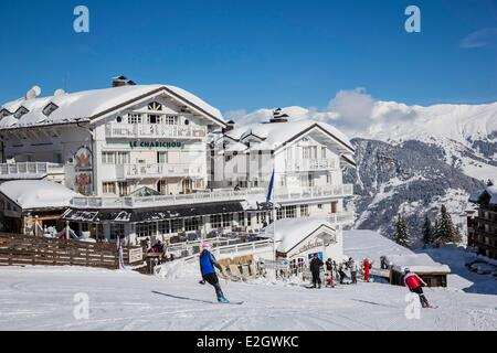 France Savoie Courchevel 1850 four-star Chabichou hotel and two-star restaurant massif of Vanoise Tarentaise valley - Stock Photo