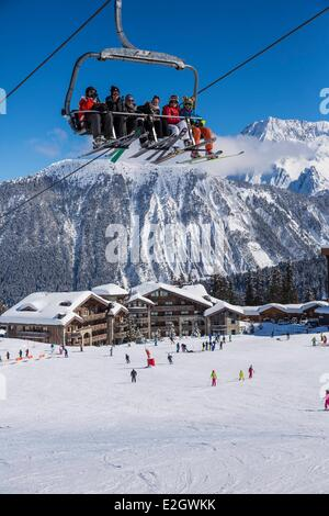 France Savoie Courchevel 1850 Le Grand Bec (Alt :3398 m) at top Courchevel is one of biggest stations of ski-village - Stock Photo