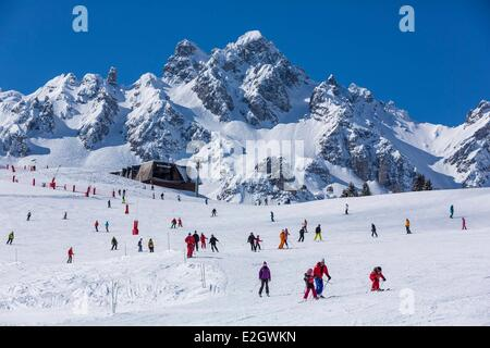 France Savoie Courchevel 1850 Rocher de La Loze (Alt : 2491 m) at top massif of Vanoise Tarentaise valley - Stock Photo