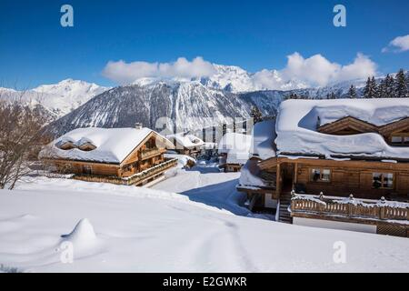 France Savoie Courchevel 1850 Le Grand Bec (Alt :3398 m) and La Pointe du Vallonnet (Alt : 3372 m) at top Courchevel - Stock Photo