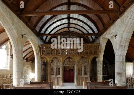 France Cotes d'Armor Loc Envel inside church jube - Stock Photo
